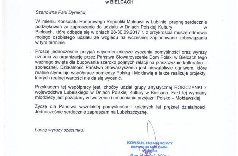 Życzenia Konsulatu Honorowego Republiki Mołdawii w Lublinie