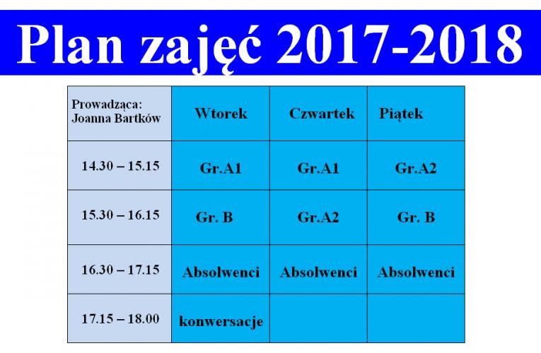 Plan zajęć 2017-2018